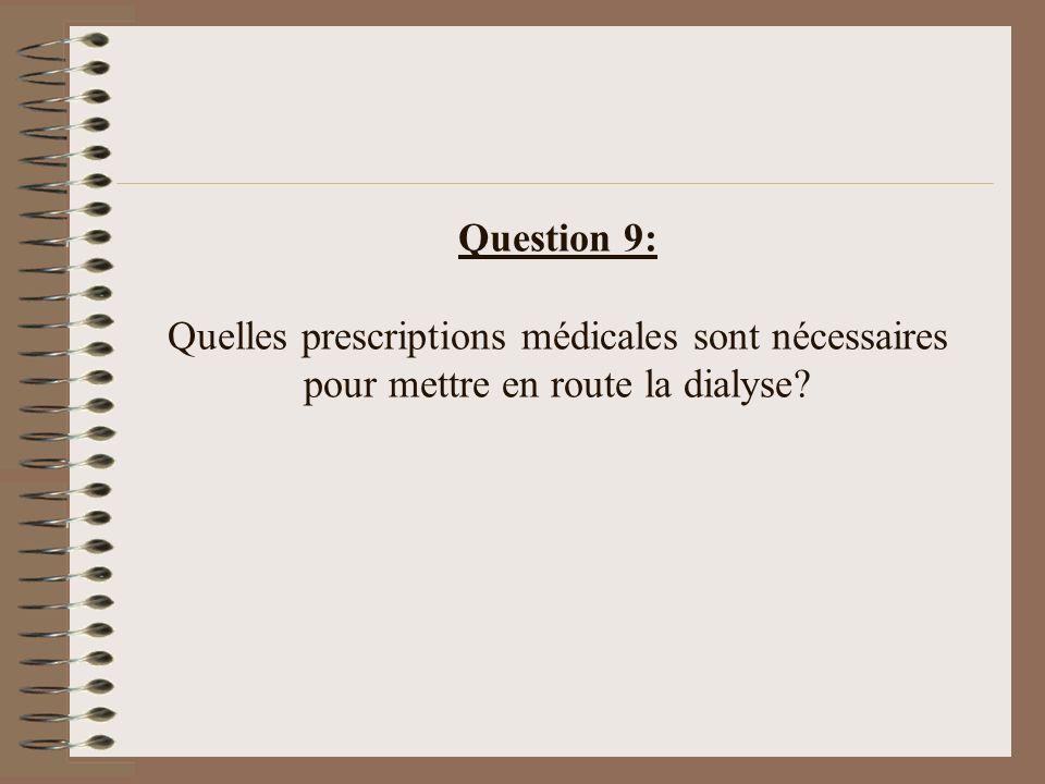 Question 9: Quelles prescriptions médicales sont nécessaires pour mettre en route la dialyse?