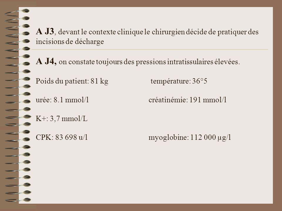 A J3, devant le contexte clinique le chirurgien décide de pratiquer des incisions de décharge A J4, on constate toujours des pressions intratissulaire