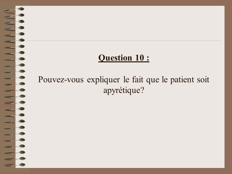 Question 10 : Pouvez-vous expliquer le fait que le patient soit apyrétique?