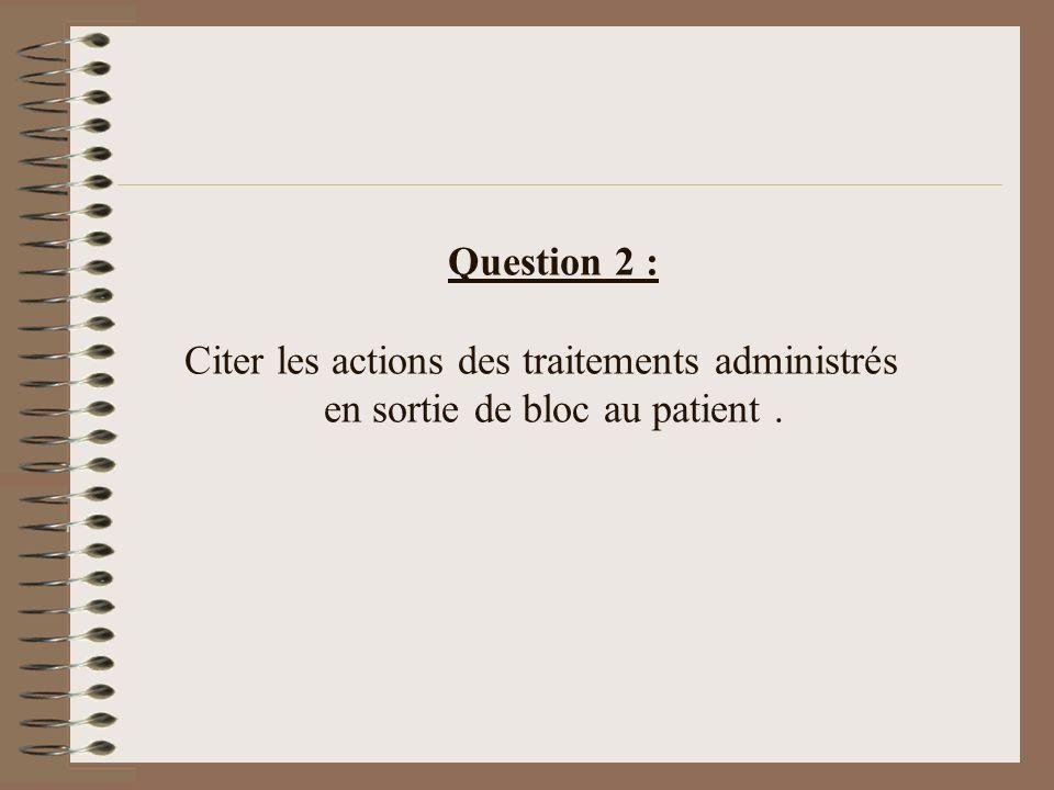 Question 2 : Citer les actions des traitements administrés en sortie de bloc au patient.