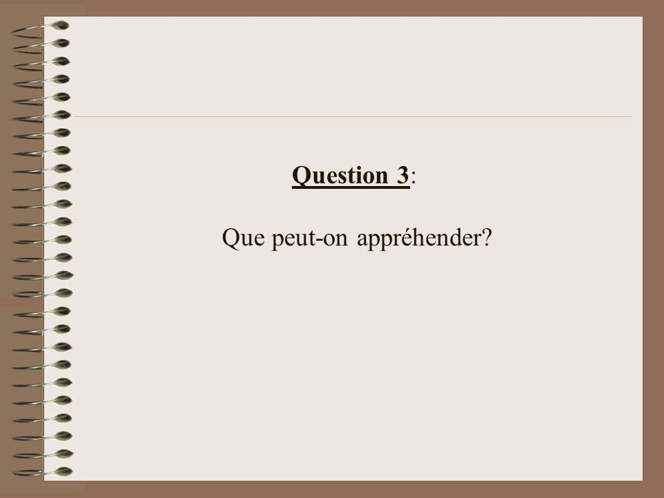 Question 3: Que peut-on appréhender?