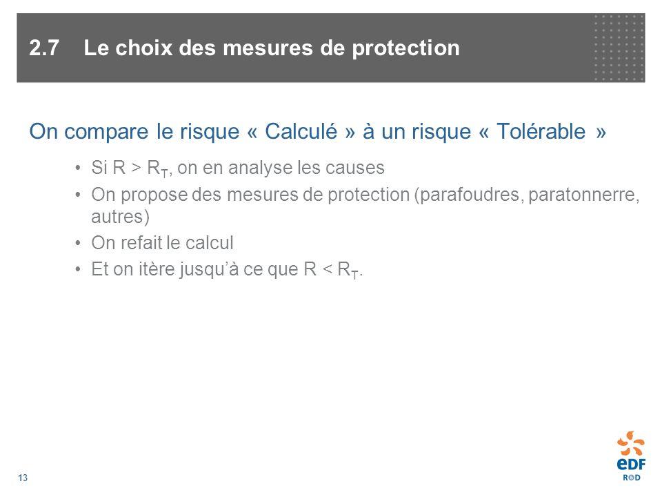13 On compare le risque « Calculé » à un risque « Tolérable » Si R > R T, on en analyse les causes On propose des mesures de protection (parafoudres,