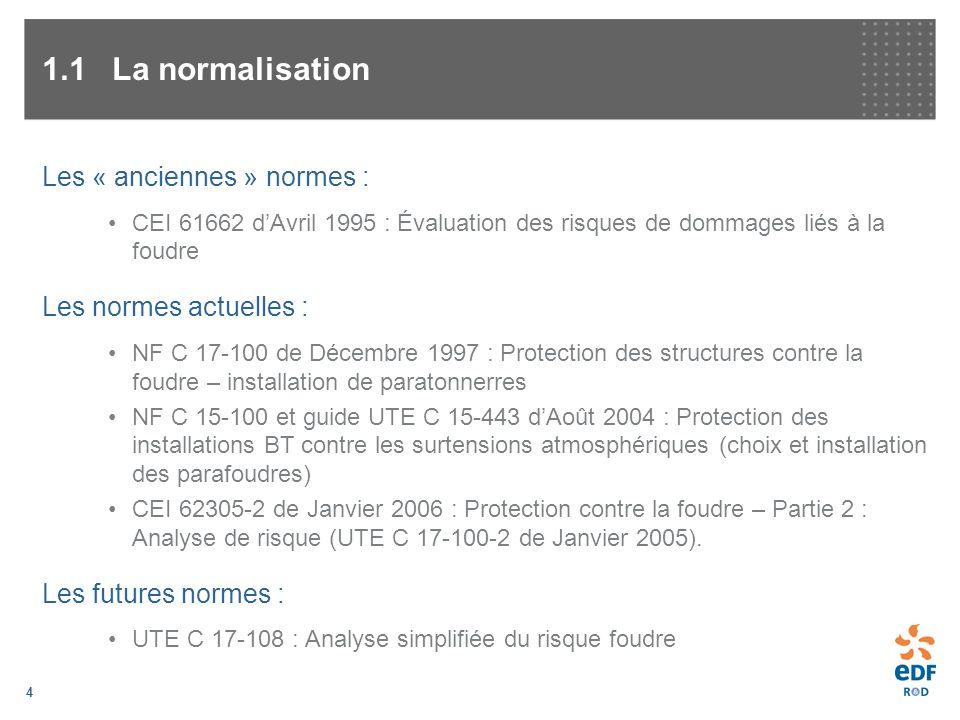 4 1.1La normalisation Les « anciennes » normes : CEI 61662 dAvril 1995 : Évaluation des risques de dommages liés à la foudre Les normes actuelles : NF