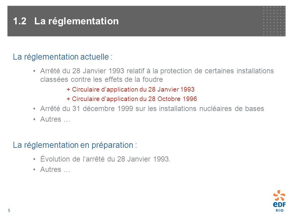 5 1.2La réglementation La réglementation actuelle : Arrêté du 28 Janvier 1993 relatif à la protection de certaines installations classées contre les e