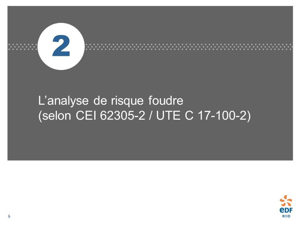6 2 Lanalyse de risque foudre (selon CEI 62305-2 / UTE C 17-100-2)