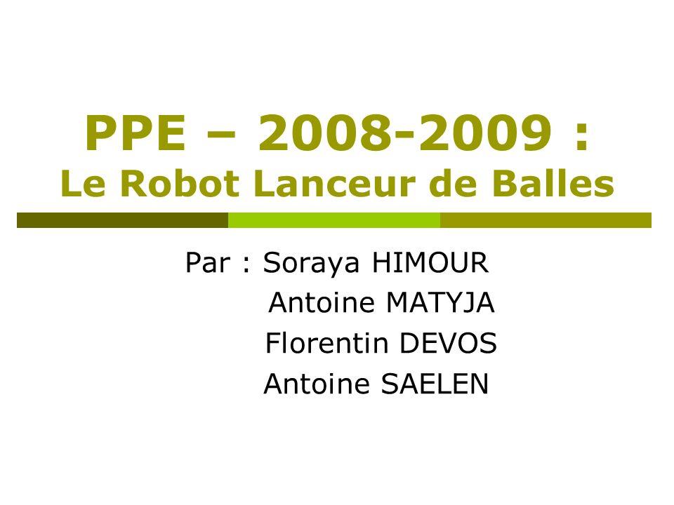 PPE – 2008-2009 : Le Robot Lanceur de Balles Par : Soraya HIMOUR Antoine MATYJA Florentin DEVOS Antoine SAELEN
