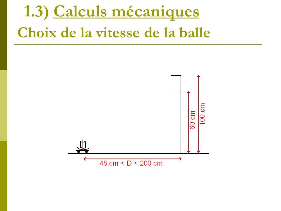 Choix de la vitesse de la balle 1.3) Calculs mécaniques