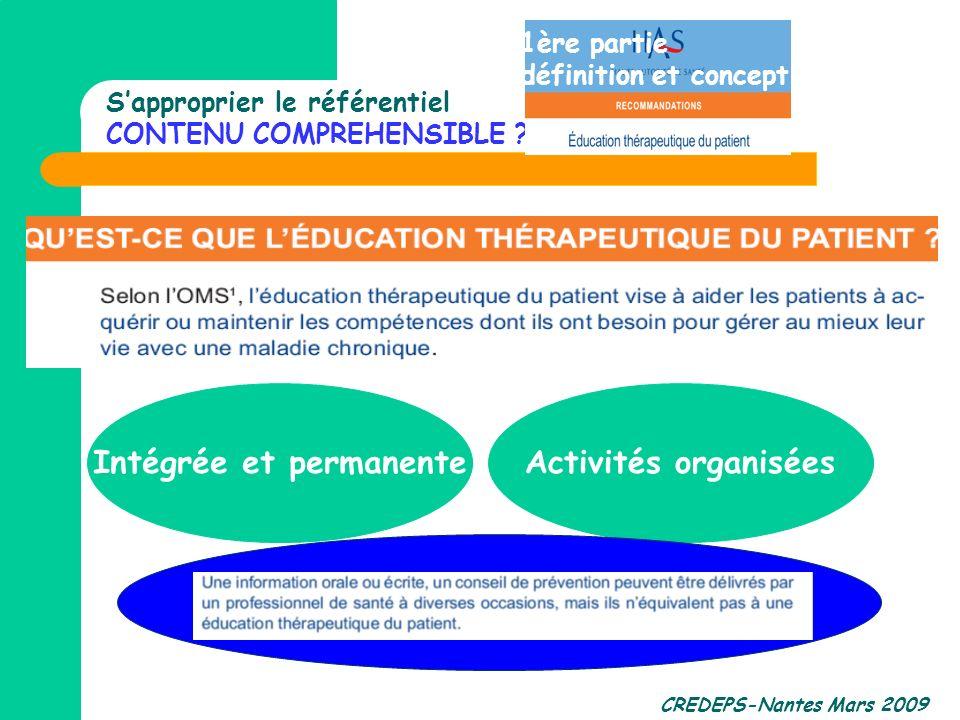 CREDEPS-Nantes Mars 2009 Sapproprier le référentiel CONTENU COMPREHENSIBLE ? Intégrée et permanenteActivités organisées 1ère partie définition et conc