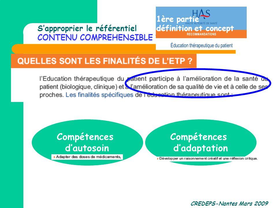 CREDEPS-Nantes Mars 2009 Sapproprier le référentiel CONTENU COMPREHENSIBLE ? Compétences dautosoin Compétences dadaptation 1ère partie définition et c
