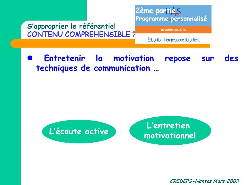 CREDEPS-Nantes Mars 2009 Entretenir la motivation repose sur des techniques de communication … Lécoute active Lentretien motivationnel Sapproprier le