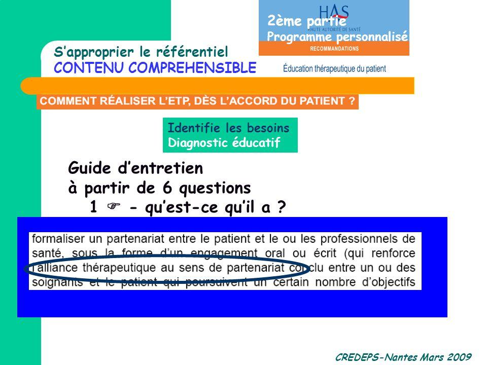 CREDEPS-Nantes Mars 2009 Identifie les besoins Diagnostic éducatif Sapproprier le référentiel CONTENU COMPREHENSIBLE ? 2ème partie Programme personnal