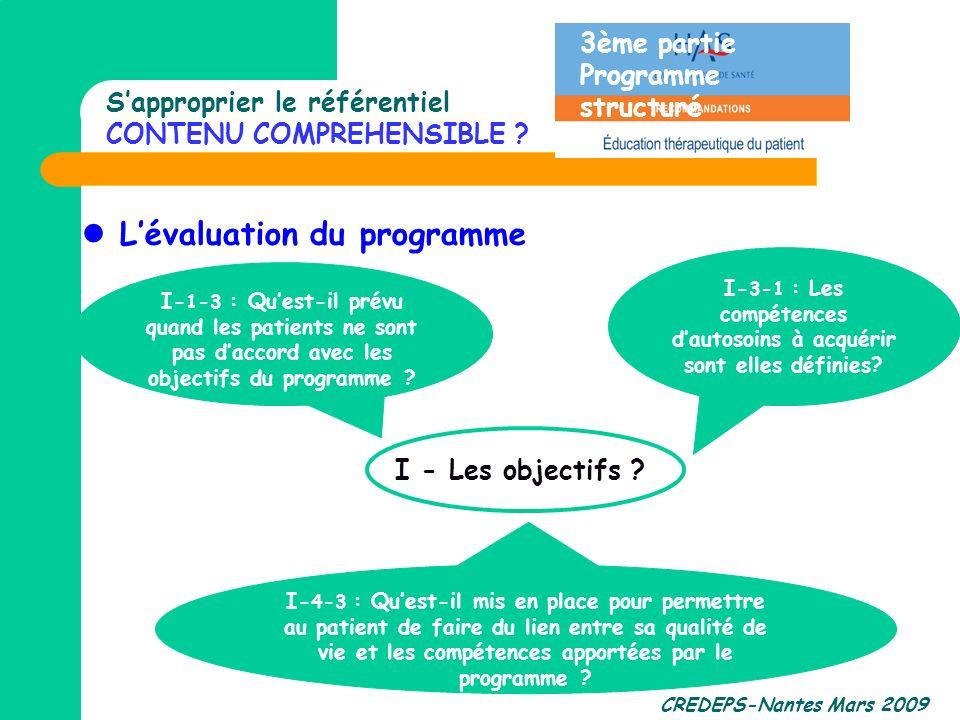 CREDEPS-Nantes Mars 2009 Sapproprier le référentiel CONTENU COMPREHENSIBLE ? Lévaluation du programme I- 4-3 : Quest-il mis en place pour permettre au