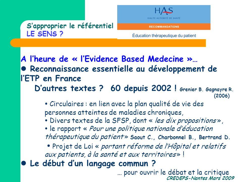 CREDEPS-Nantes Mars 2009 Sapproprier le référentiel LE SENS ? A lheure de « lEvidence Based Medecine »… Reconnaissance essentielle au développement de