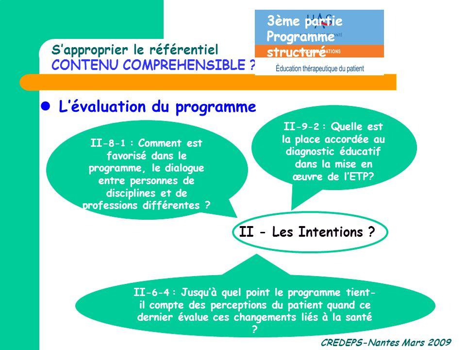 CREDEPS-Nantes Mars 2009 Sapproprier le référentiel CONTENU COMPREHENSIBLE ? Lévaluation du programme II- 6-4 : Jusquà quel point le programme tient-