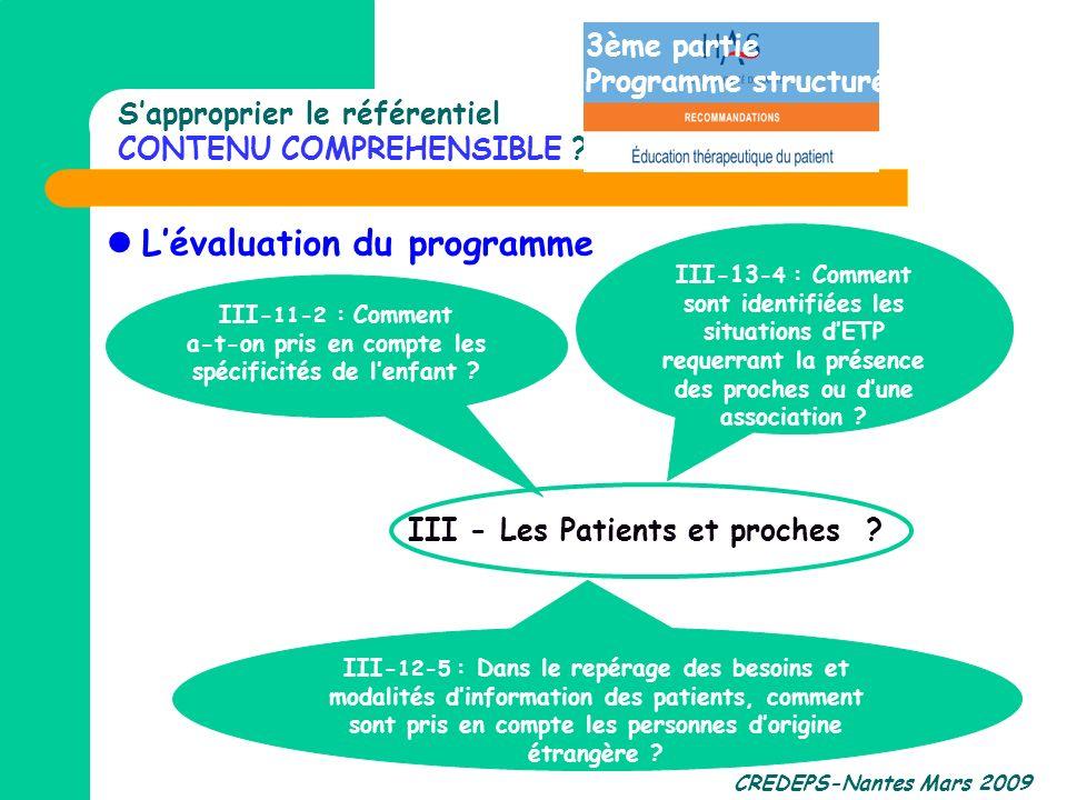 CREDEPS-Nantes Mars 2009 Sapproprier le référentiel CONTENU COMPREHENSIBLE ? Lévaluation du programme III- 12-5 : Dans le repérage des besoins et moda