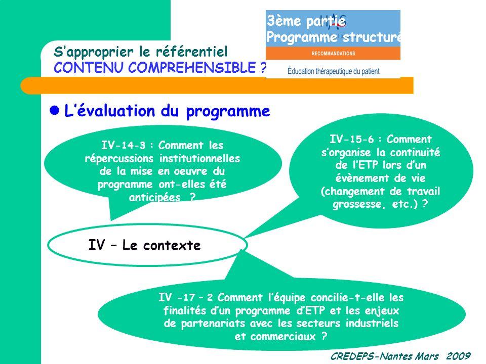 CREDEPS-Nantes Mars 2009 Sapproprier le référentiel CONTENU COMPREHENSIBLE ? Lévaluation du programme IV - 17 – 2 Comment léquipe concilie-t-elle les