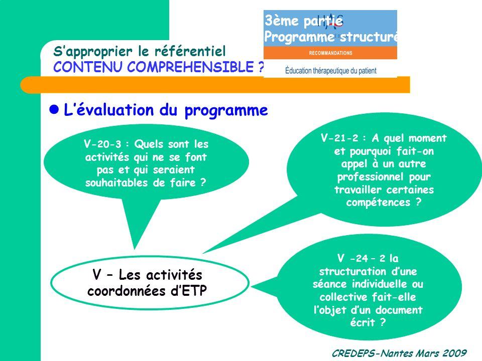 CREDEPS-Nantes Mars 2009 Sapproprier le référentiel CONTENU COMPREHENSIBLE ? Lévaluation du programme V - 24 – 2 la structuration dune séance individu