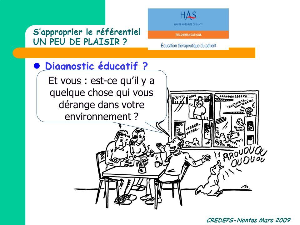 CREDEPS-Nantes Mars 2009 Sapproprier le référentiel UN PEU DE PLAISIR ? Diagnostic éducatif ? Et vous : est-ce quil y a quelque chose qui vous dérange