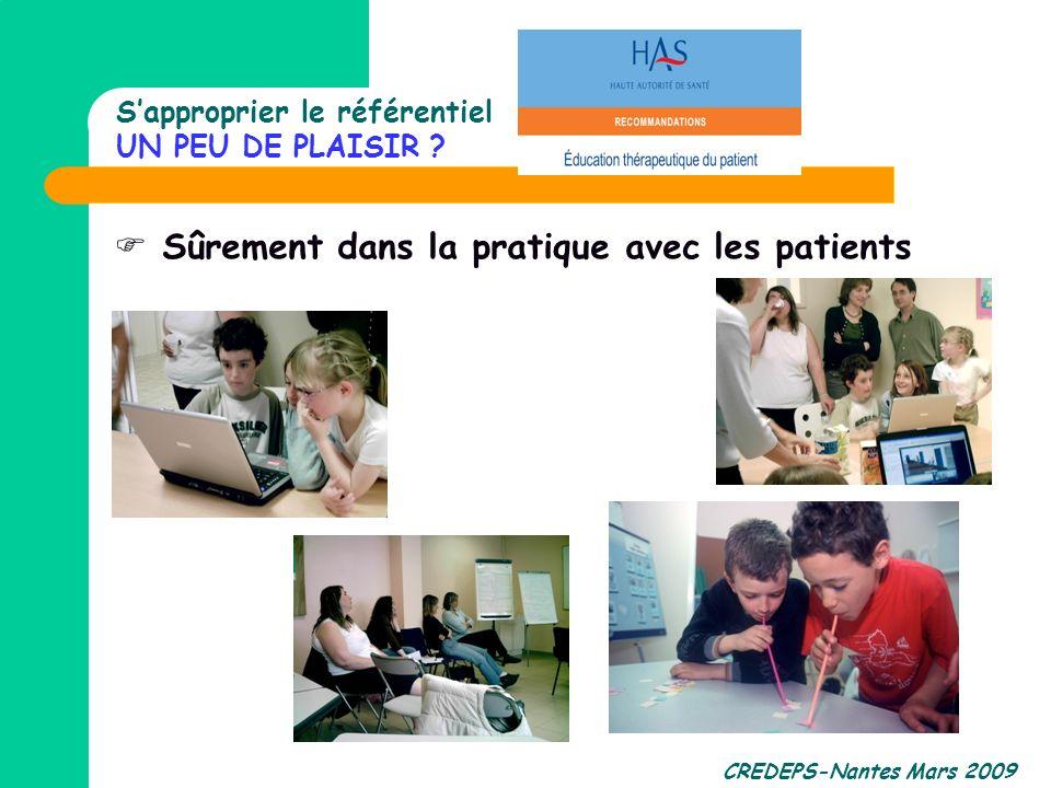 CREDEPS-Nantes Mars 2009 Sapproprier le référentiel UN PEU DE PLAISIR ? Sûrement dans la pratique avec les patients