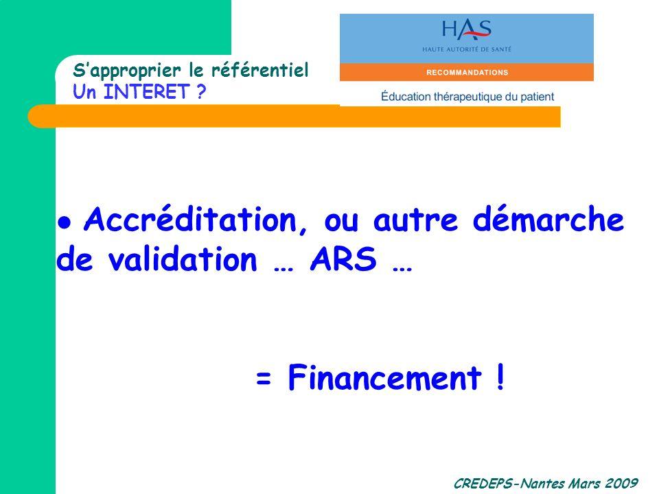 CREDEPS-Nantes Mars 2009 Sapproprier le référentiel Un INTERET ? Accréditation, ou autre démarche de validation … ARS … = Financement !