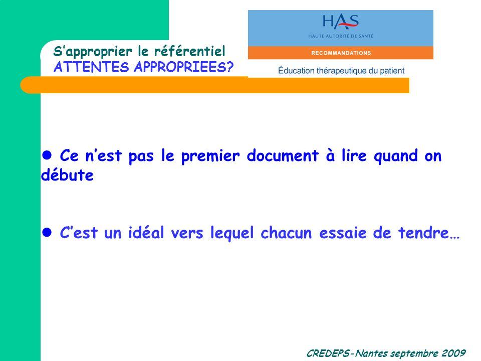 CREDEPS-Nantes septembre 2009 Sapproprier le référentiel ATTENTES APPROPRIEES? Ce nest pas le premier document à lire quand on débute Cest un idéal ve