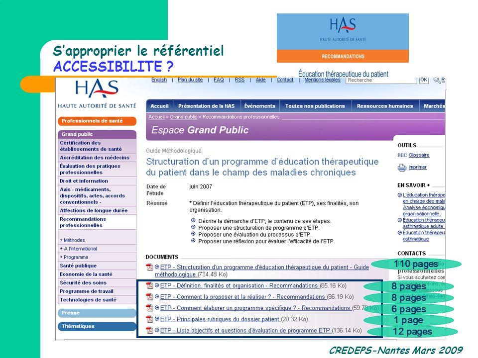 CREDEPS-Nantes Mars 2009 Sapproprier le référentiel ACCESSIBILITE ? 110 pages 6 pages 1 page 12 pages 8 pages
