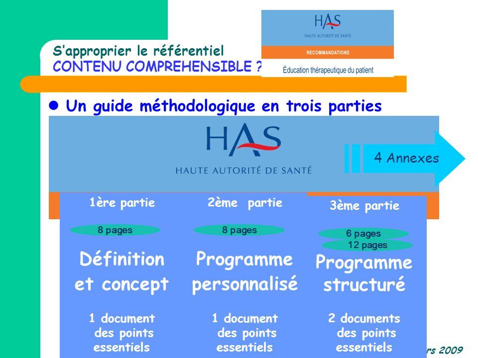 CREDEPS-Nantes Mars 2009 Un guide méthodologique en trois parties 1ère partie Définition et concept 1 document des points essentiels 2ème partie Progr
