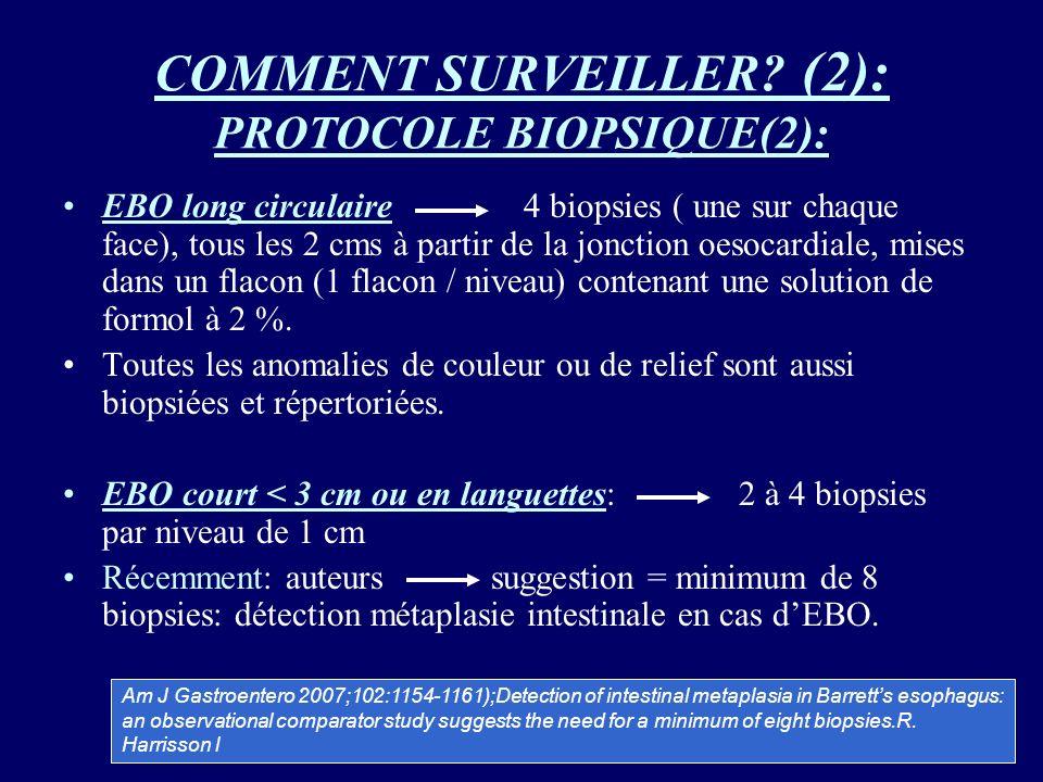 COMMENT SURVEILLER? (2): PROTOCOLE BIOPSIQUE(2): EBO long circulaire 4 biopsies ( une sur chaque face), tous les 2 cms à partir de la jonction oesocar