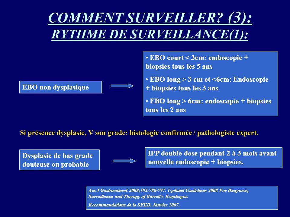 COMMENT SURVEILLER? (3): RYTHME DE SURVEILLANCE(1): EBO non dysplasique EBO court < 3cm: endoscopie + biopsies tous les 5 ans EBO long > 3 cm et <6cm:
