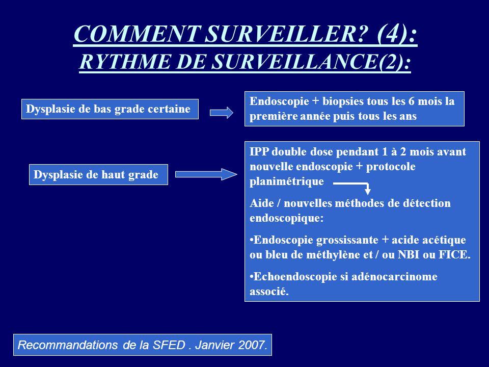 COMMENT SURVEILLER? (4): RYTHME DE SURVEILLANCE(2): Dysplasie de bas grade certaine Endoscopie + biopsies tous les 6 mois la première année puis tous