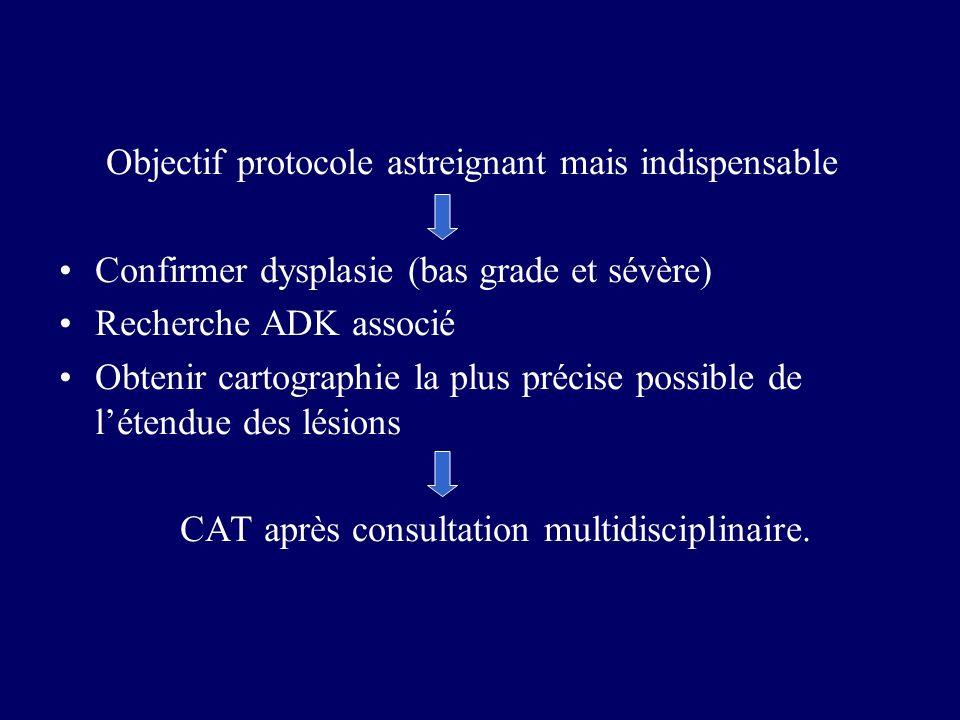 Objectif protocole astreignant mais indispensable Confirmer dysplasie (bas grade et sévère) Recherche ADK associé Obtenir cartographie la plus précise