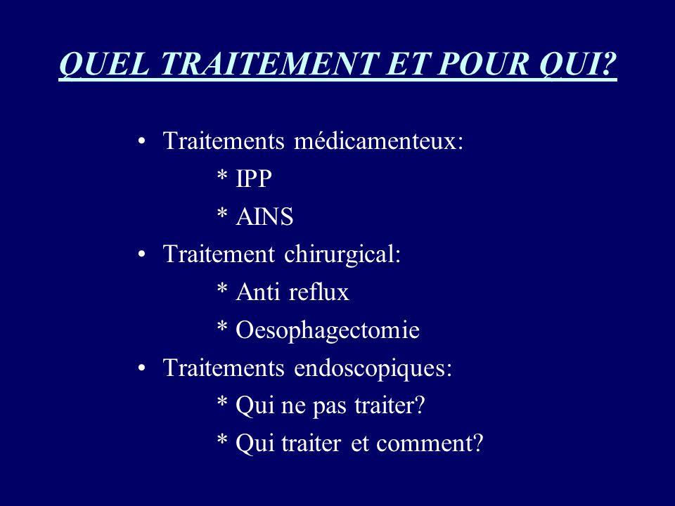 QUEL TRAITEMENT ET POUR QUI? Traitements médicamenteux: * IPP * AINS Traitement chirurgical: * Anti reflux * Oesophagectomie Traitements endoscopiques