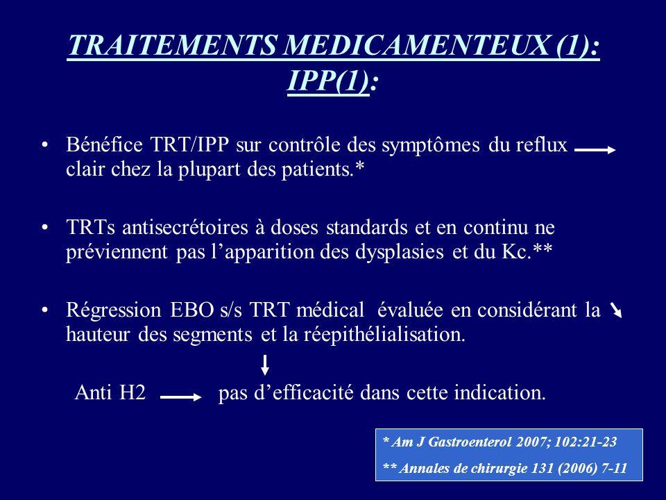 TRAITEMENTS MEDICAMENTEUX (1): IPP(1): Bénéfice TRT/IPP sur contrôle des symptômes du reflux clair chez la plupart des patients.* TRTs antisecrétoires