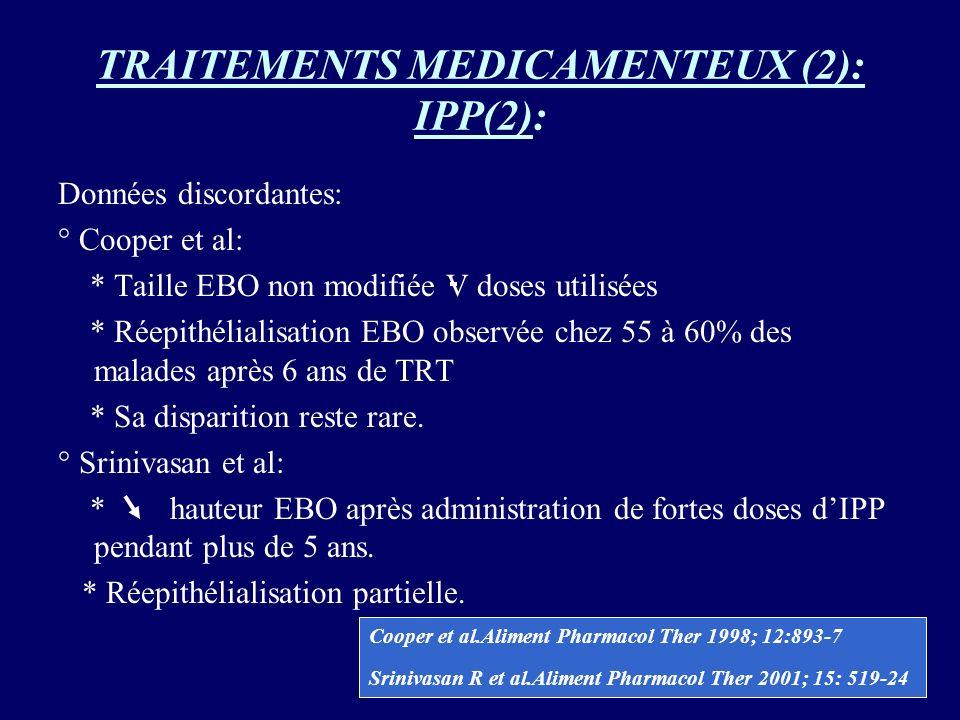 TRAITEMENTS MEDICAMENTEUX (2): IPP(2): Données discordantes: ° Cooper et al: * Taille EBO non modifiée V doses utilisées * Réepithélialisation EBO obs