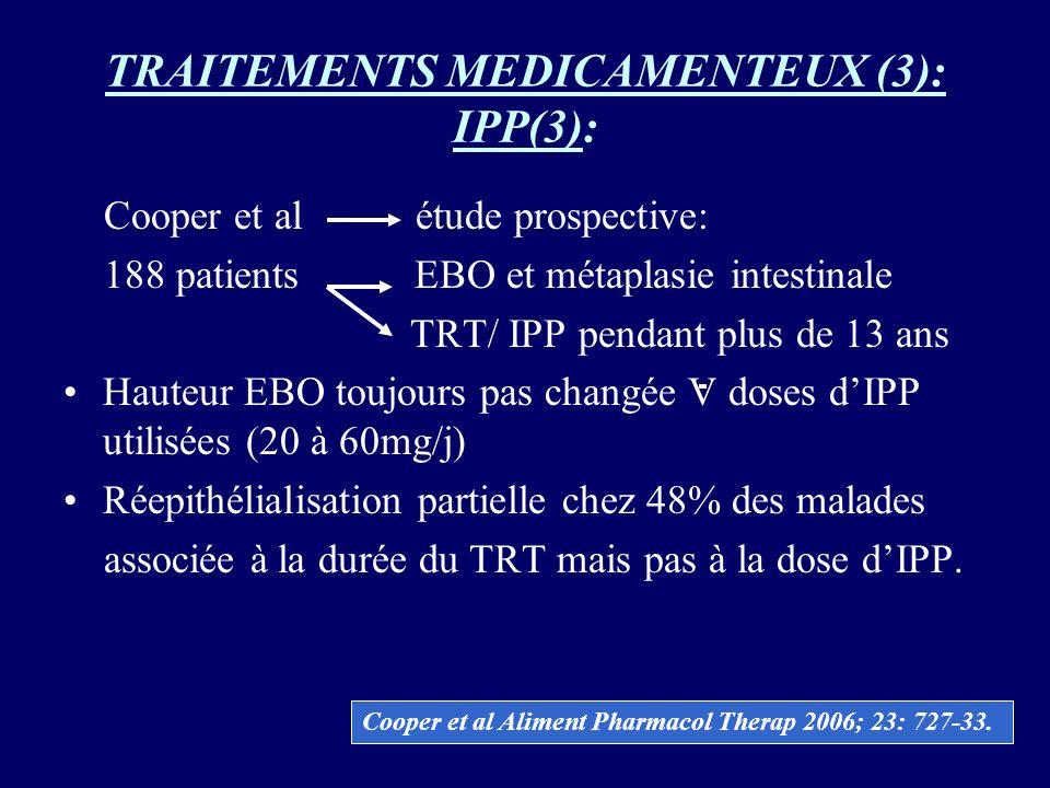 TRAITEMENTS MEDICAMENTEUX (3): IPP(3): Cooper et al étude prospective: 188 patients EBO et métaplasie intestinale TRT/ IPP pendant plus de 13 ans Haut