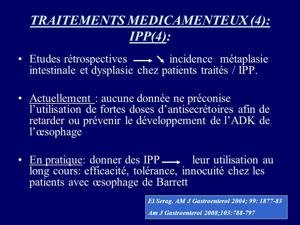 TRAITEMENTS MEDICAMENTEUX (4): IPP(4): Etudes rétrospectives incidence métaplasie intestinale et dysplasie chez patients traités / IPP. Actuellement :