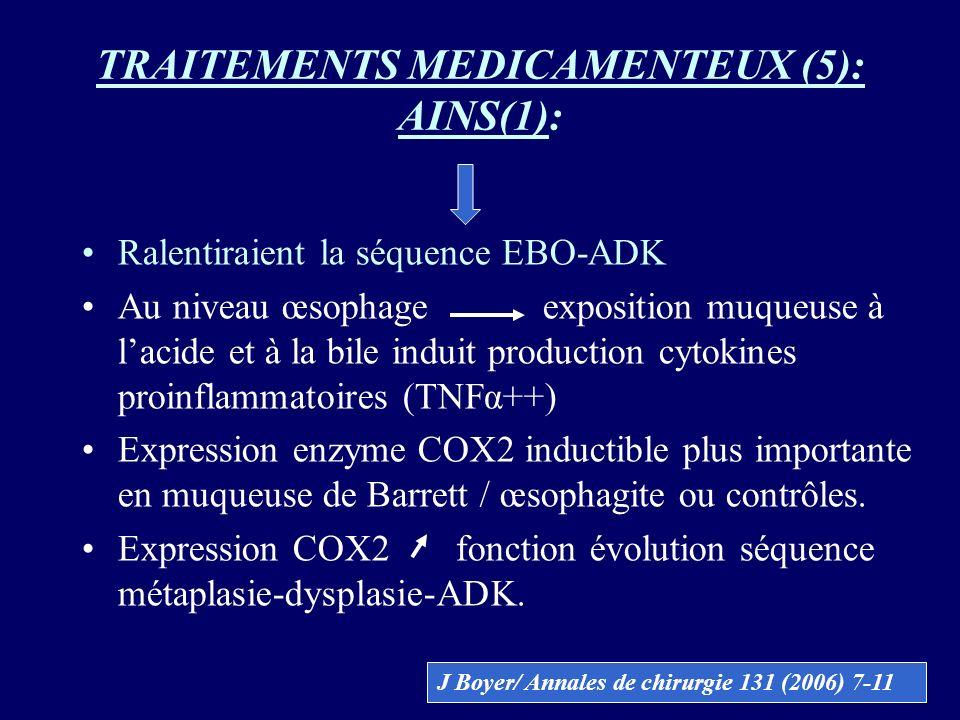 TRAITEMENTS MEDICAMENTEUX (5): AINS(1): Ralentiraient la séquence EBO-ADK Au niveau œsophage exposition muqueuse à lacide et à la bile induit producti