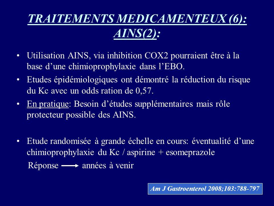 TRAITEMENTS MEDICAMENTEUX (6): AINS(2): Utilisation AINS, via inhibition COX2 pourraient être à la base dune chimioprophylaxie dans lEBO. Etudes épidé
