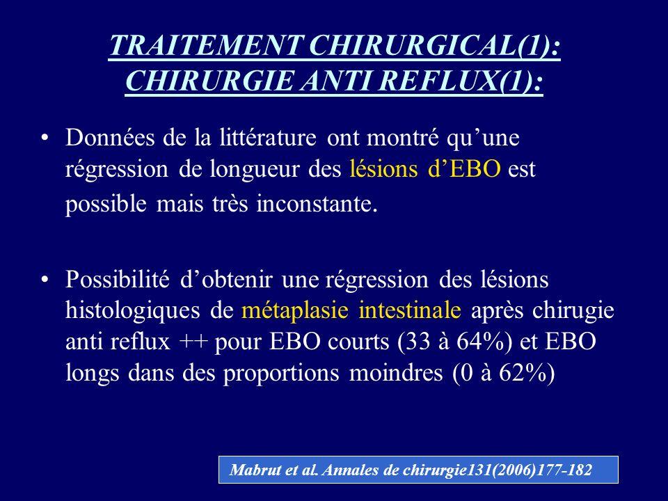 TRAITEMENT CHIRURGICAL(1): CHIRURGIE ANTI REFLUX(1): Données de la littérature ont montré quune régression de longueur des lésions dEBO est possible m