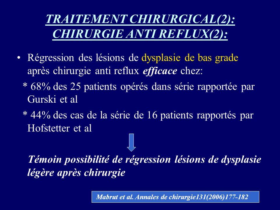 TRAITEMENT CHIRURGICAL(2): CHIRURGIE ANTI REFLUX(2): Régression des lésions de dysplasie de bas grade après chirurgie anti reflux efficace chez: * 68%