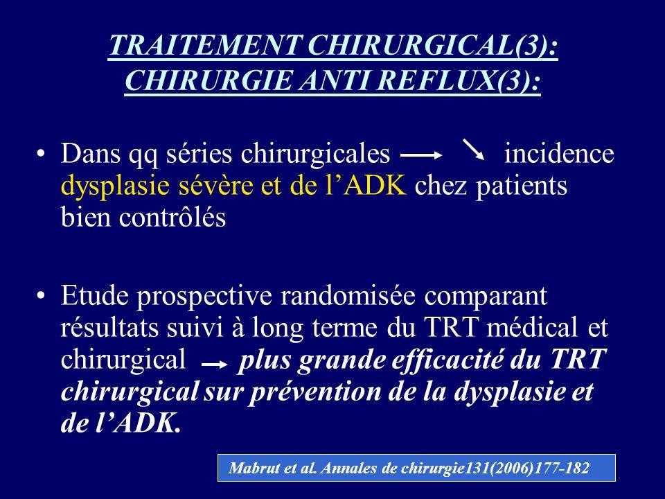 TRAITEMENT CHIRURGICAL(3): CHIRURGIE ANTI REFLUX(3): Dans qq séries chirurgicales incidence dysplasie sévère et de lADK chez patients bien contrôlés E