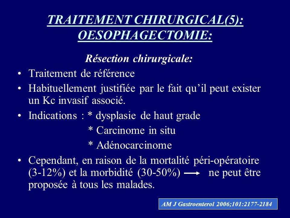 TRAITEMENT CHIRURGICAL(5): OESOPHAGECTOMIE: Résection chirurgicale: Traitement de référence Habituellement justifiée par le fait quil peut exister un