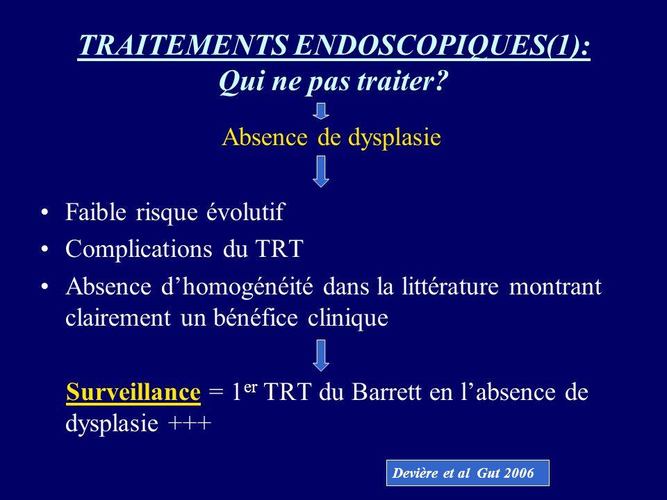 TRAITEMENTS ENDOSCOPIQUES(1): Qui ne pas traiter? Absence de dysplasie Faible risque évolutif Complications du TRT Absence dhomogénéité dans la littér