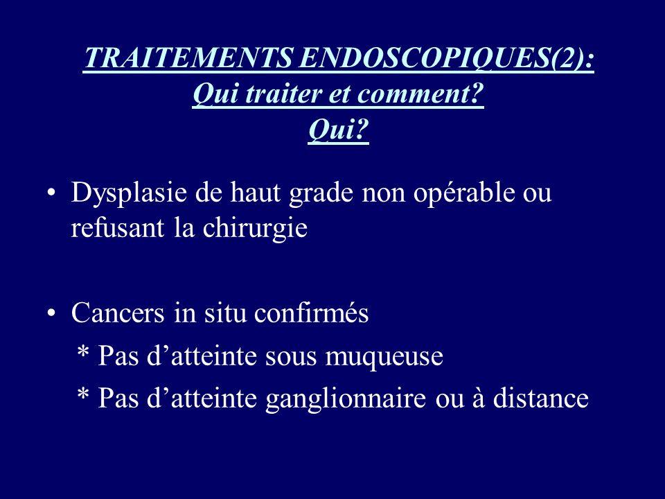 TRAITEMENTS ENDOSCOPIQUES(2): Qui traiter et comment? Qui? Dysplasie de haut grade non opérable ou refusant la chirurgie Cancers in situ confirmés * P