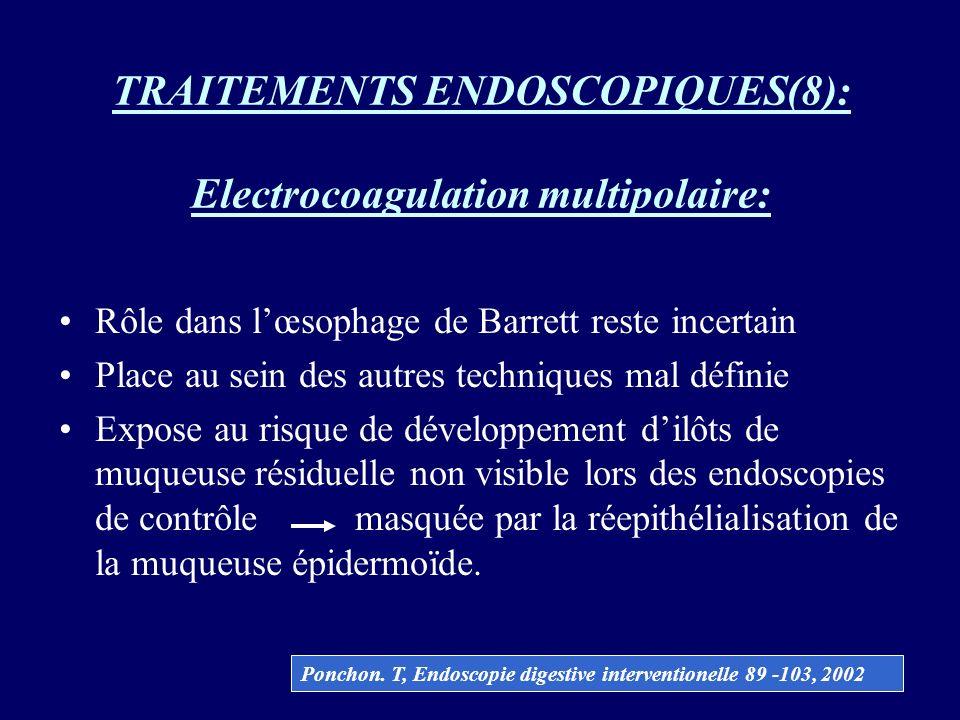 TRAITEMENTS ENDOSCOPIQUES(8): Electrocoagulation multipolaire: Rôle dans lœsophage de Barrett reste incertain Place au sein des autres techniques mal