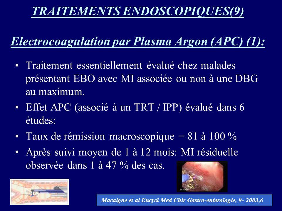 TRAITEMENTS ENDOSCOPIQUES(9) Electrocoagulation par Plasma Argon (APC) (1): Traitement essentiellement évalué chez malades présentant EBO avec MI asso