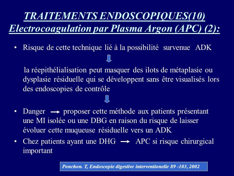 TRAITEMENTS ENDOSCOPIQUES(10) Electrocoagulation par Plasma Argon (APC) (2): Risque de cette technique lié à la possibilité survenue ADK la réepithéli