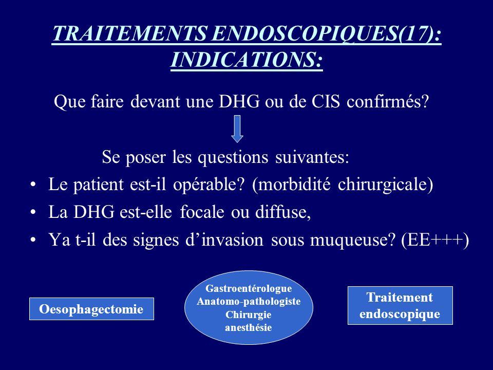 TRAITEMENTS ENDOSCOPIQUES(17): INDICATIONS: Que faire devant une DHG ou de CIS confirmés? Se poser les questions suivantes: Le patient est-il opérable