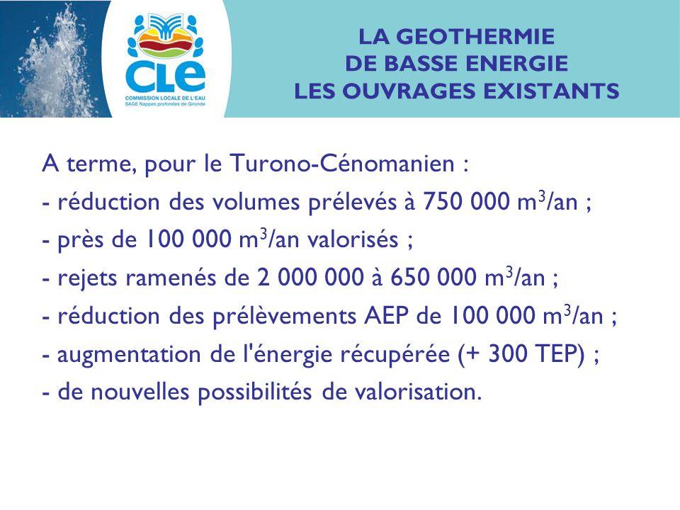 LA GEOTHERMIE DE BASSE ENERGIE LES OUVRAGES EXISTANTS A terme, pour le Turono-Cénomanien : - réduction des volumes prélevés à 750 000 m 3 /an ; - près