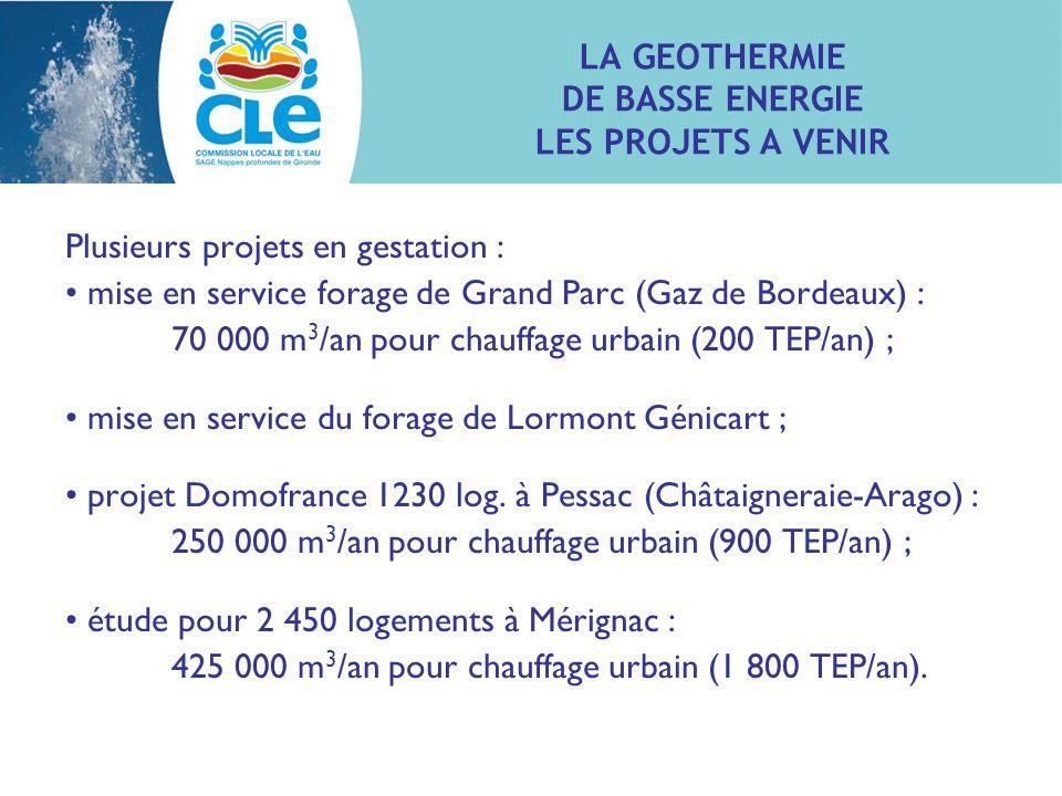 Plusieurs projets en gestation : mise en service forage de Grand Parc (Gaz de Bordeaux) : 70 000 m 3 /an pour chauffage urbain (200 TEP/an) ; mise en